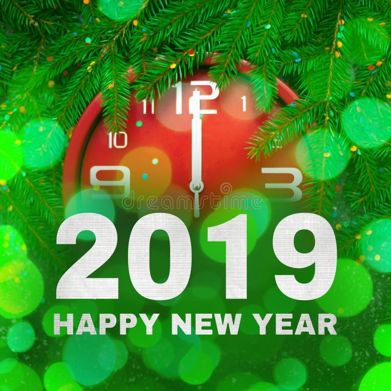 Яркая ая-зелен квадратная поздравительная открытка С Новым Годом! 2019 стоковое изображение