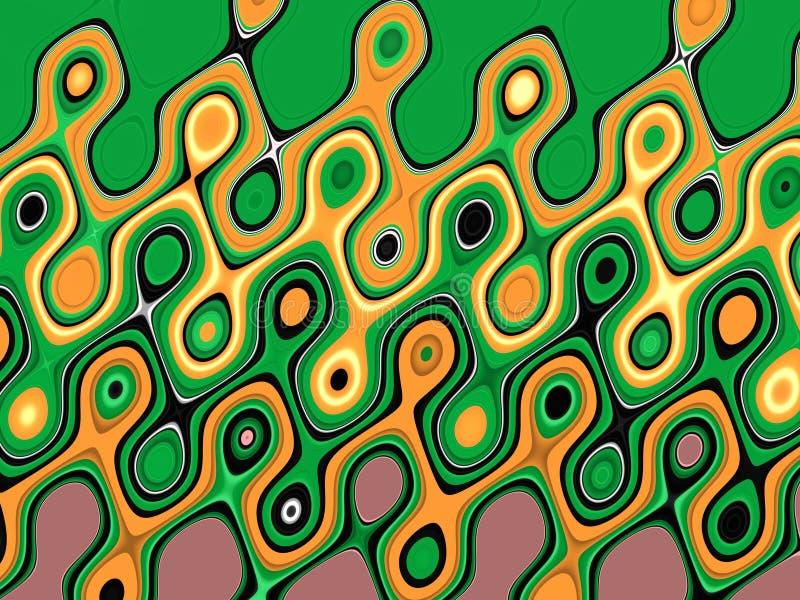 Яркая ая-зелен коричневая желтая фосфоресцентная желтая фиолетовая геометрическая предпосылка Волны как формы, абстрактная предпо иллюстрация вектора