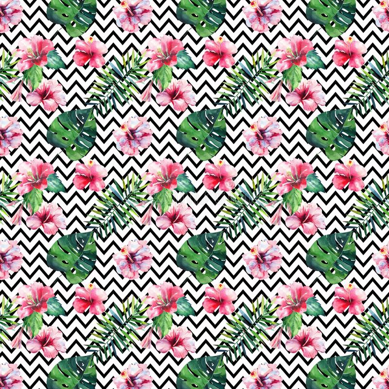 Яркая ая-зелен травяная тропическая картина лета Гавайских островов флористическая листьев троповых ладони и троповой розовой кра бесплатная иллюстрация
