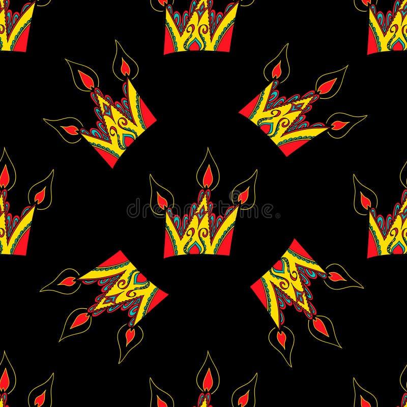 Яркая безшовная абстрактная нарисованная вручную картина с кронами бесплатная иллюстрация