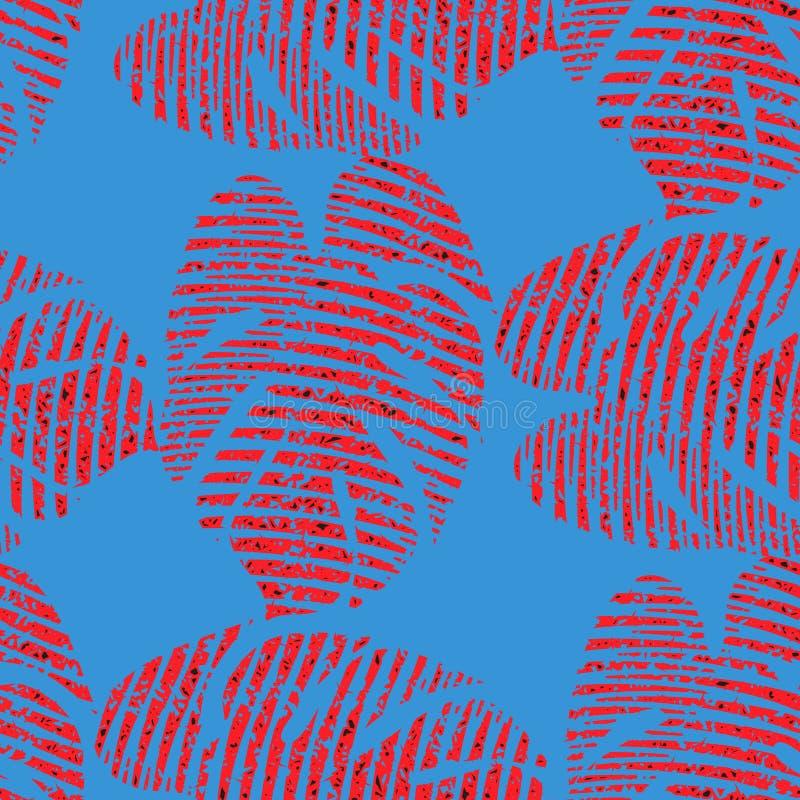 Яркая безшовная картина вектора с красными тропическими листьями иллюстрация вектора