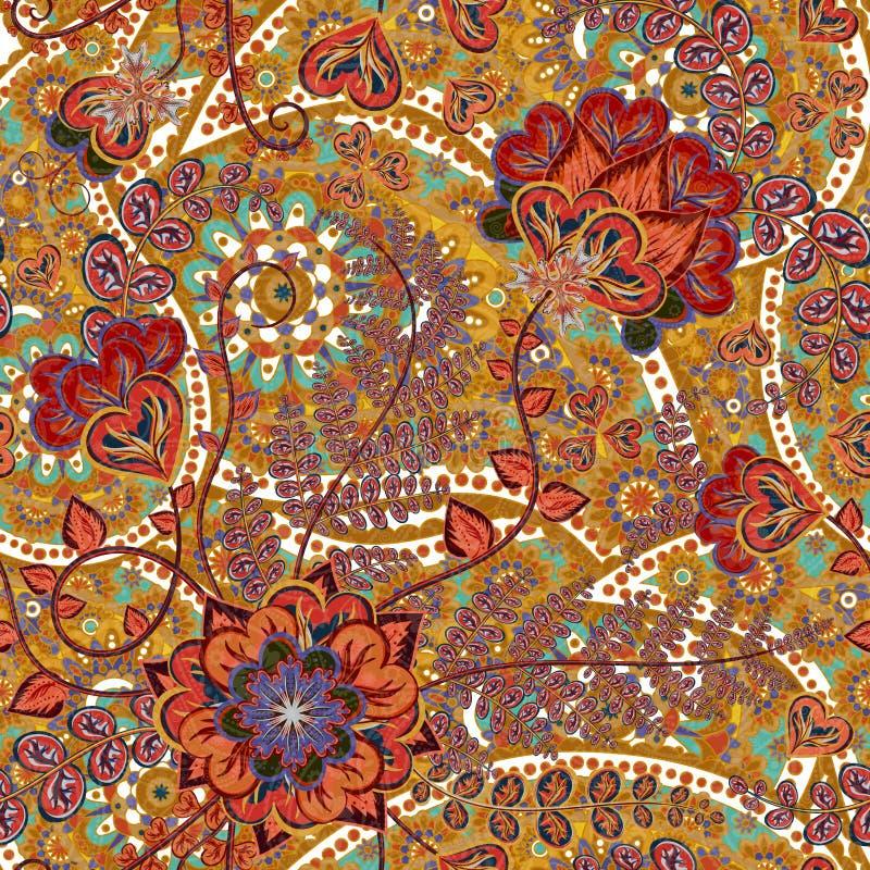Яркая безшовная картина в стиле Пейсли флористическое предпосылки цветастое иллюстрация вектора