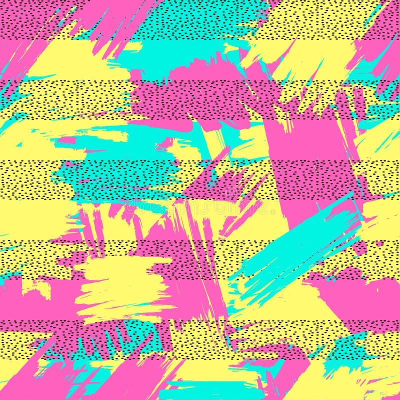 Яркая безшовная картина от красочных ходов и bla щетки бесплатная иллюстрация