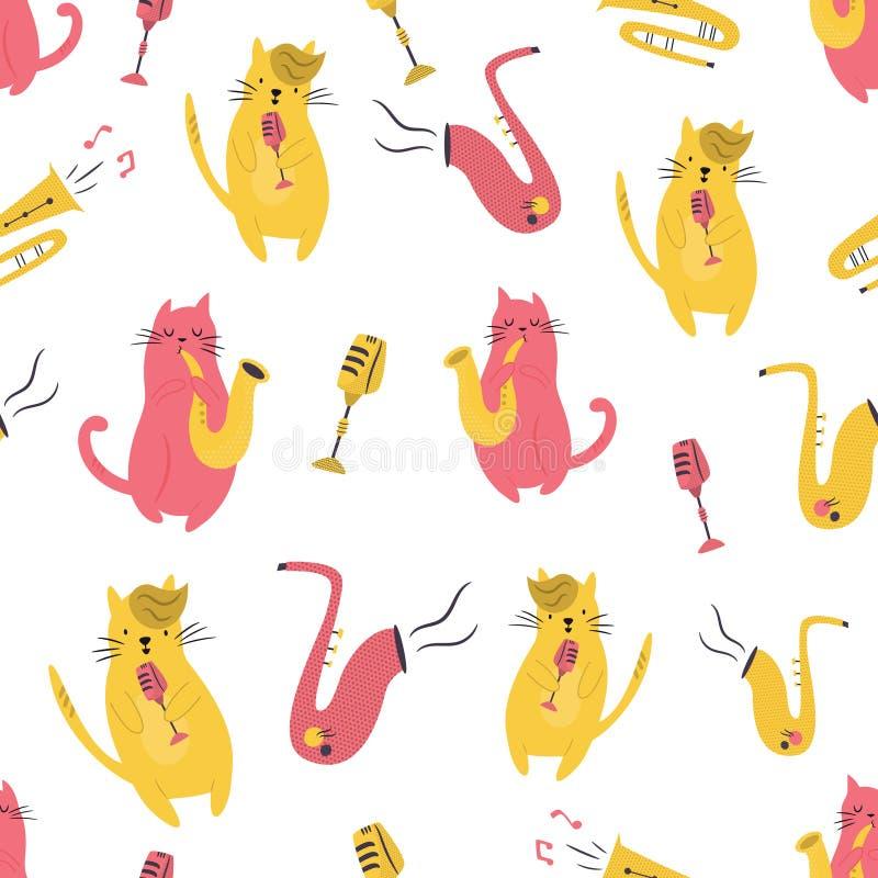 Яркая безшовная картина со смешными музыкантами котов иллюстрация штока