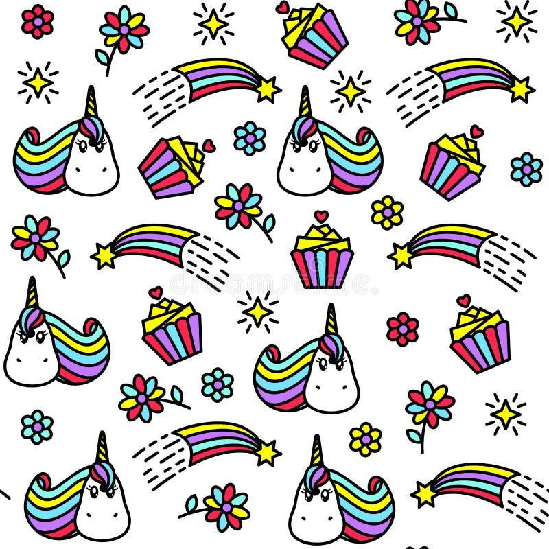 Яркая безшовная картина с единорогом, пирожным, радугой и цветками иллюстрация вектора