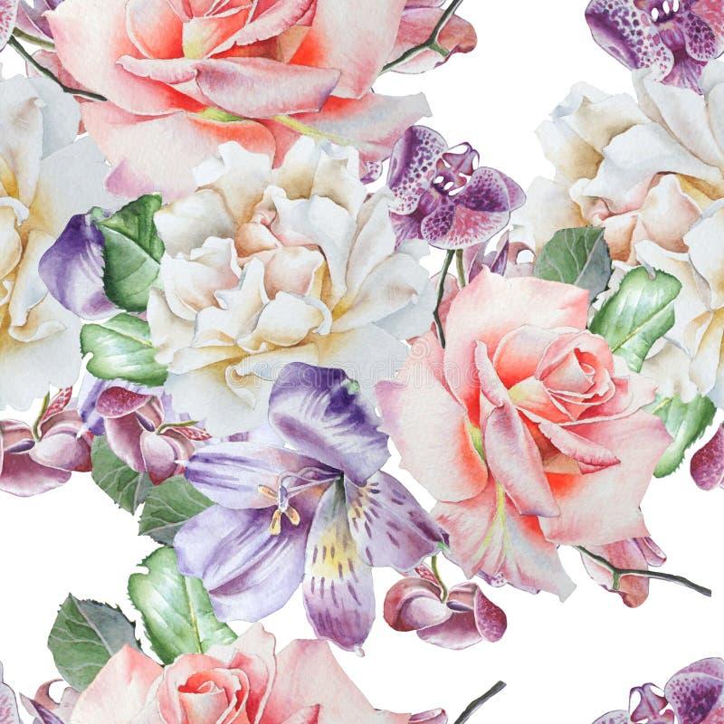 Яркая безшовная картина с цветками Поднял Alstroemeria Орхидея изображение иллюстрации летания клюва декоративное своя бумажная а иллюстрация штока