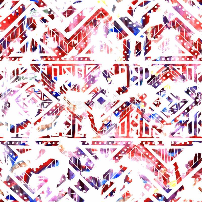 Яркая безшовная картина текстура акварели Этнический и племенной m иллюстрация штока
