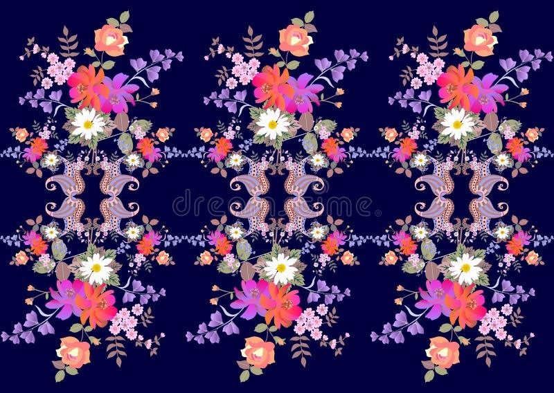 Яркая бесконечная флористическая граница Пейсли в индийском стиле Букеты роз, маргариток, колокола и цветков космоса на темно-син иллюстрация штока