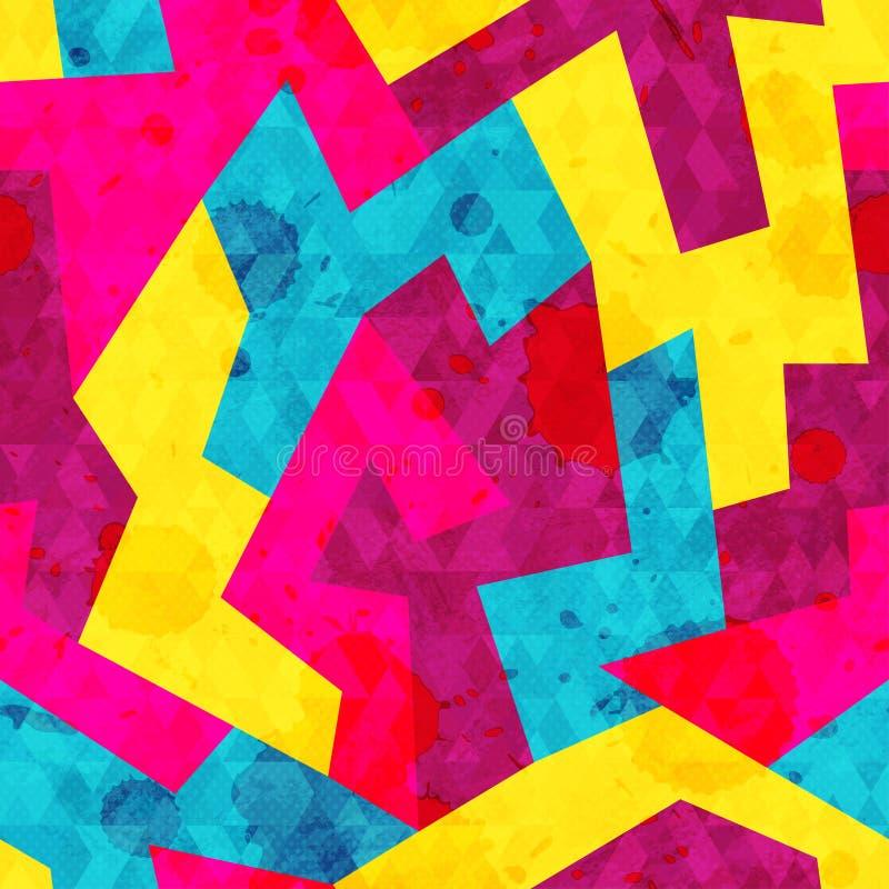 Яркая геометрическая безшовная картина с влиянием grunge иллюстрация вектора