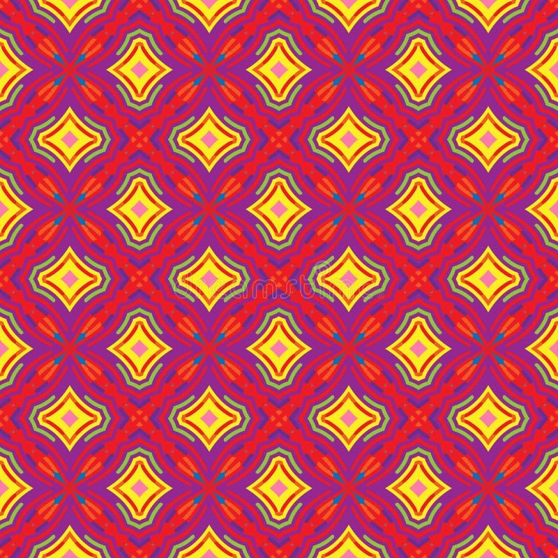 Яркая геометрическая картина в повторении Печать ткани Безшовная предпосылка, орнамент мозаики, этнический стиль иллюстрация вектора