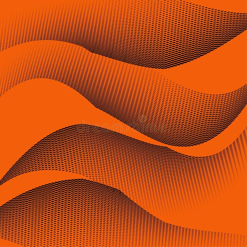 Яркая геометрическая оранжевая черная картина полутонового изображения grunge Мягкие динамические линии Абстрактная иллюстрация в бесплатная иллюстрация