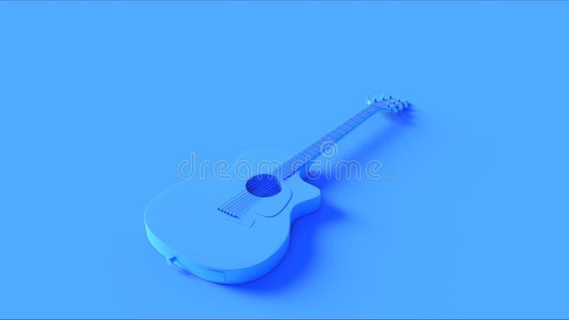 Яркая голубая акустическая электрическая гитара иллюстрация вектора