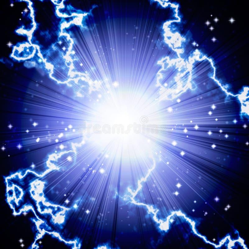 Яркая голубая вспышка с молнией иллюстрация вектора