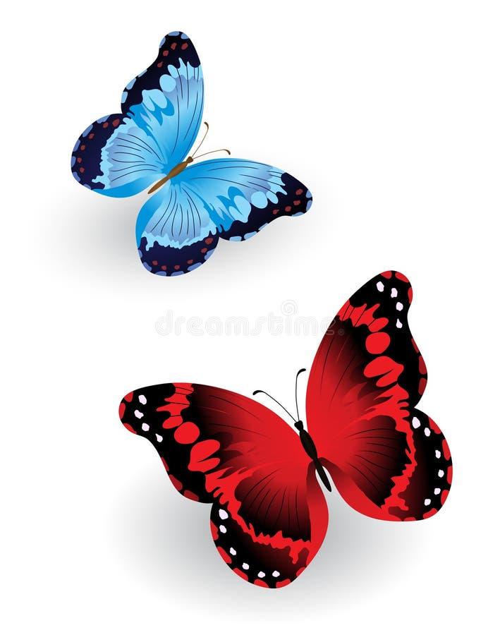 Яркая голубая и красная бабочка иллюстрация штока