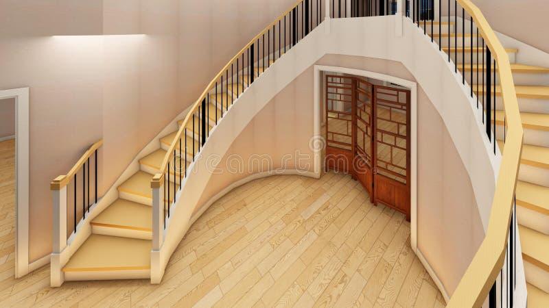 Яркая лестница в современном переводе офиса 3d иллюстрация штока
