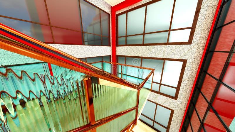 Яркая лестница в современном строя переводе 3d иллюстрация штока