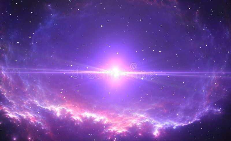 Яркая звезда, супернова в центре межзвёздного облака иллюстрация штока