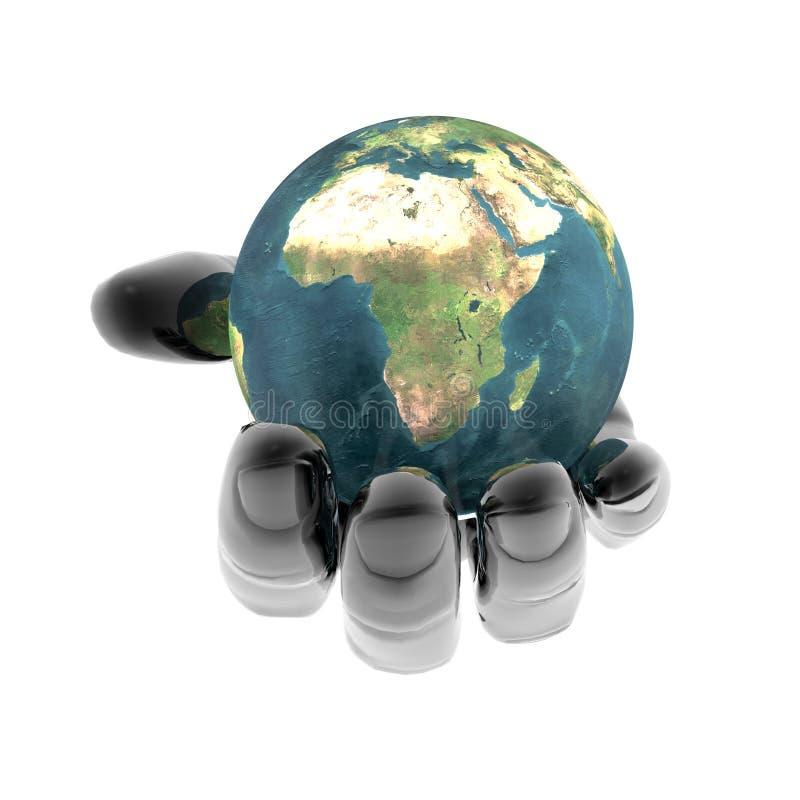 яркая изолированная рука земли 3d бесплатная иллюстрация