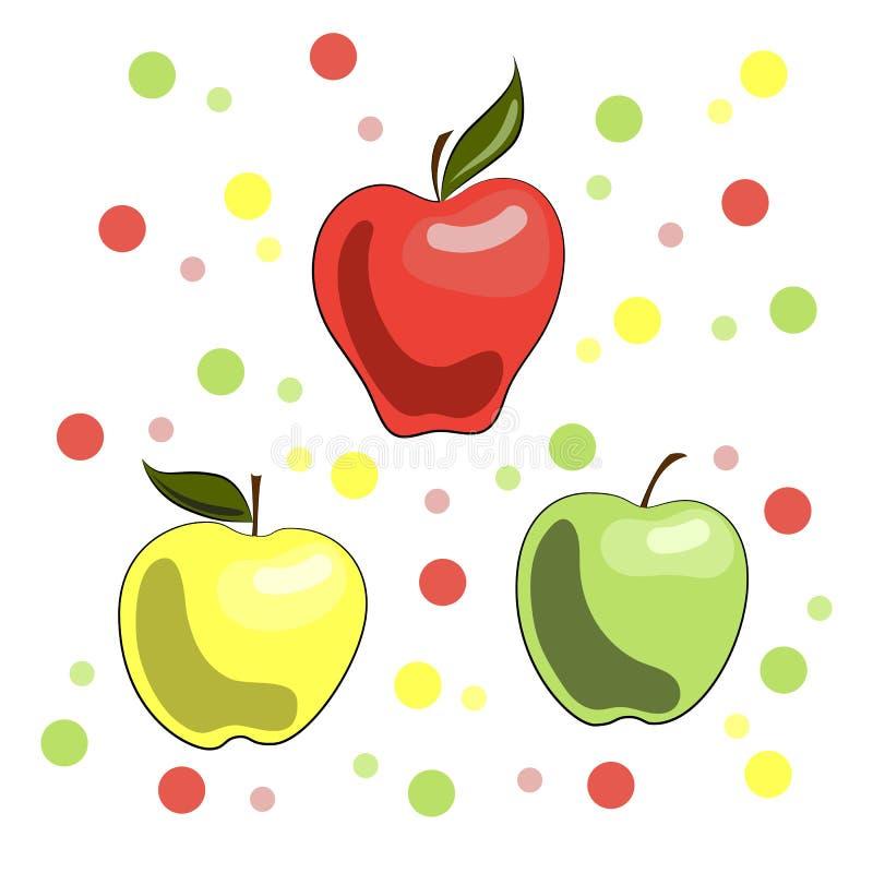 Яркая иллюстрация яблок: красный, желтый и зеленый иллюстрация вектора