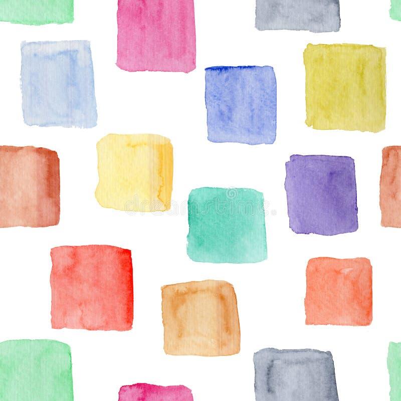 Яркая картина акварели с красочными квадратами иллюстрация штока