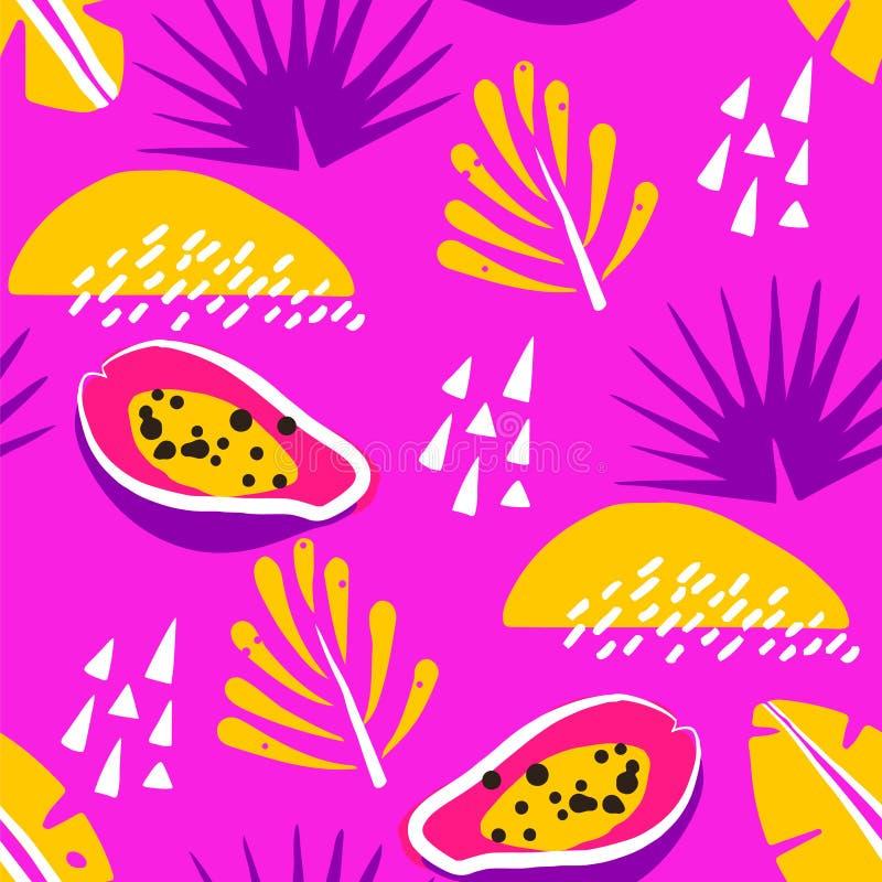 Яркая картина лета с абстрактной папапайей и милыми тропическими заводами на розовой предпосылке Орнамент для ткани и оборачивать иллюстрация вектора
