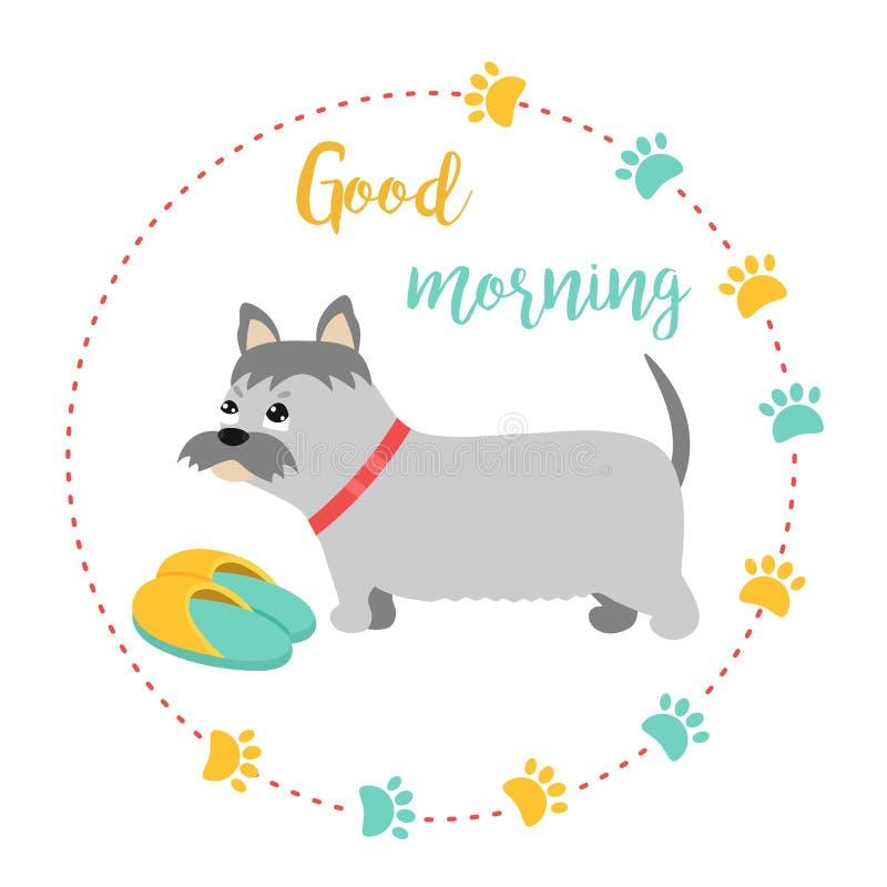 Яркая карточка с добрым утром терьера и текста иллюстрация вектора