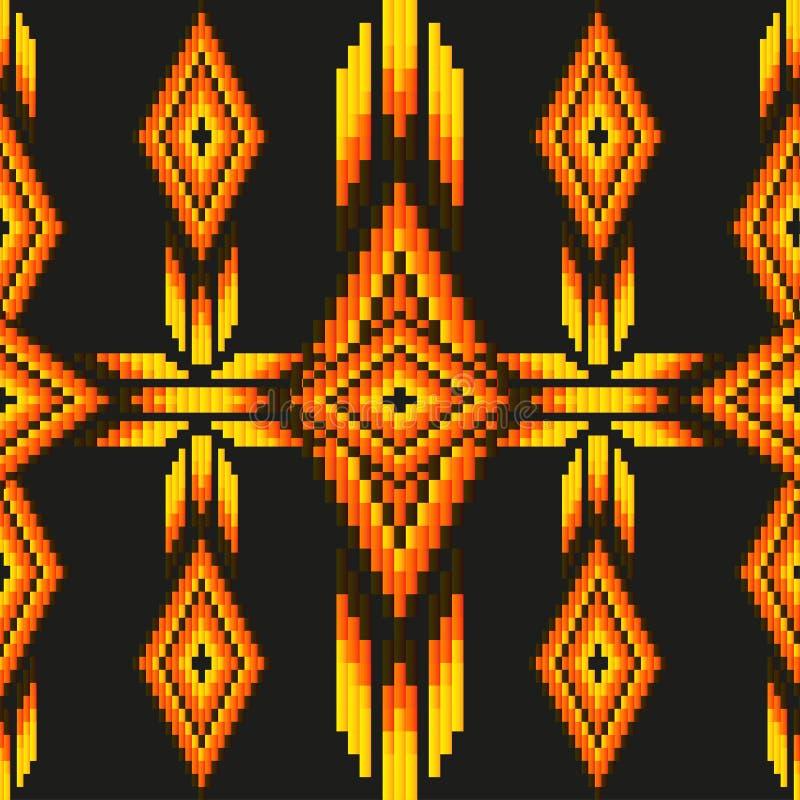 Яркая кислота покрасила этническую картину вектора вышивки Южной Америки абстрактную отбортовывая безшовную мексиканские мотивы иллюстрация штока