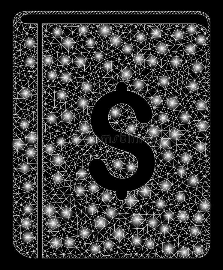 Яркая книга доллара ячеистой сети со светлыми пятнами иллюстрация вектора
