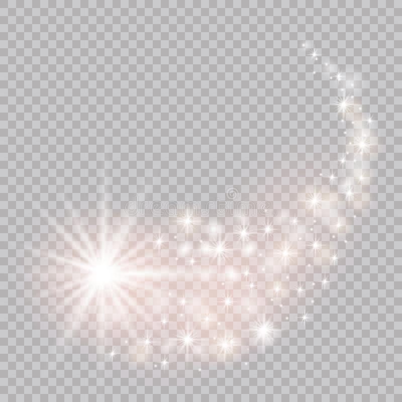 Яркая комета с падая звезда Световой эффект зарева также вектор иллюстрации притяжки corel иллюстрация вектора