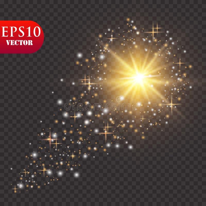 Яркая комета с падая звезда Световой эффект зарева также вектор иллюстрации притяжки corel бесплатная иллюстрация