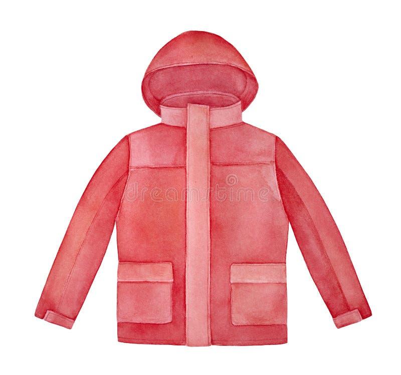 Яркая красная с капюшоном иллюстрация watercolour куртки бесплатная иллюстрация