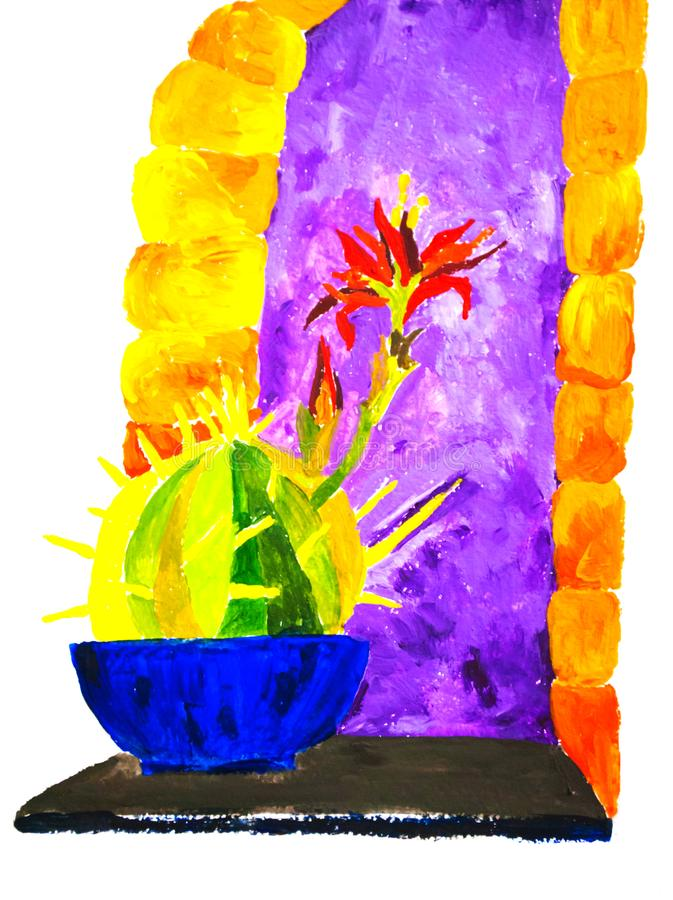 Яркая красочная иллюстрация кактуса перед фиолетовым окном иллюстрация штока
