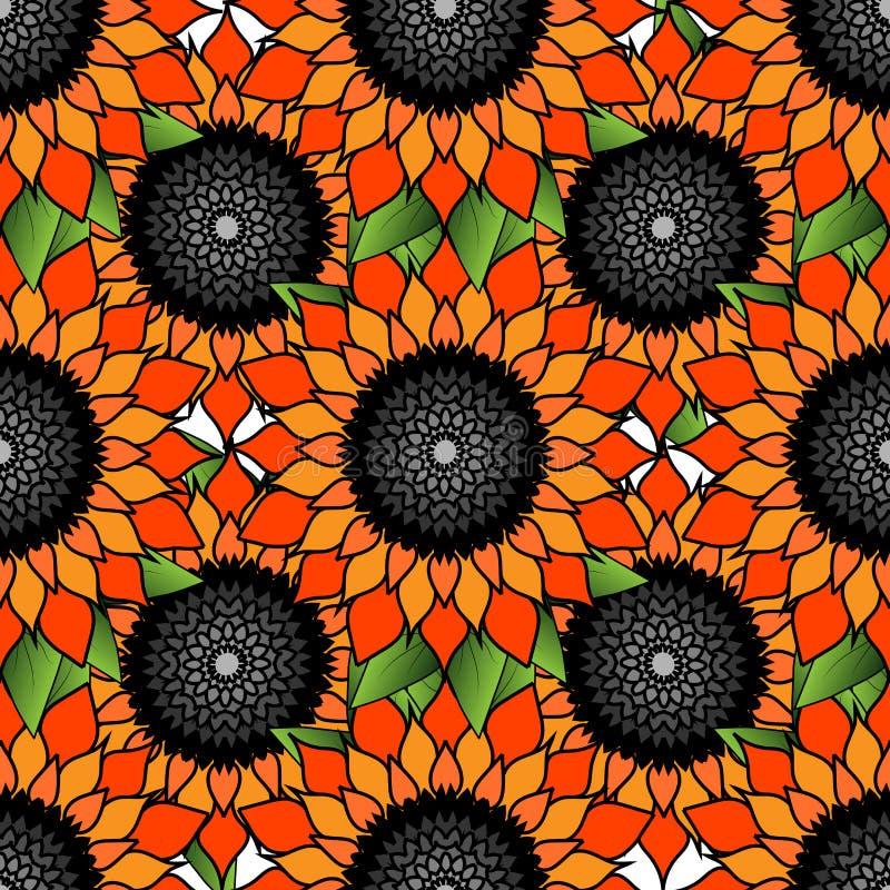 Яркая красочная флористическая безшовная картина с оранжевым цветком иллюстрация вектора