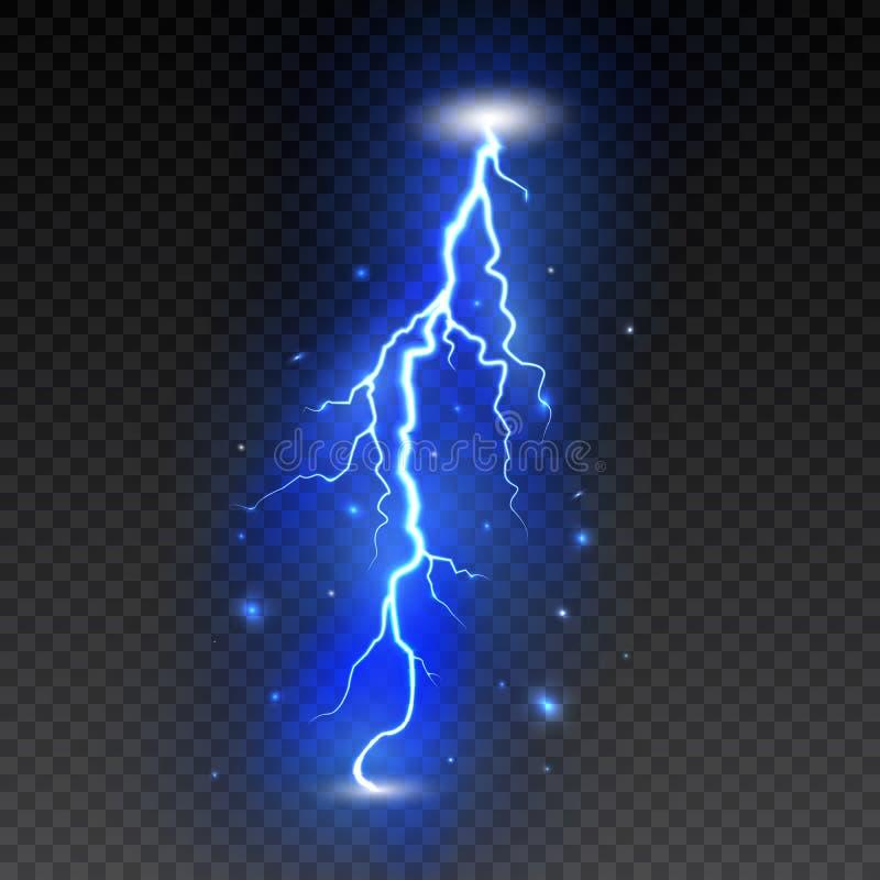 Яркая молния на прозрачной предпосылке Электрическая вспышка Болт и молния грома также вектор иллюстрации притяжки corel иллюстрация вектора