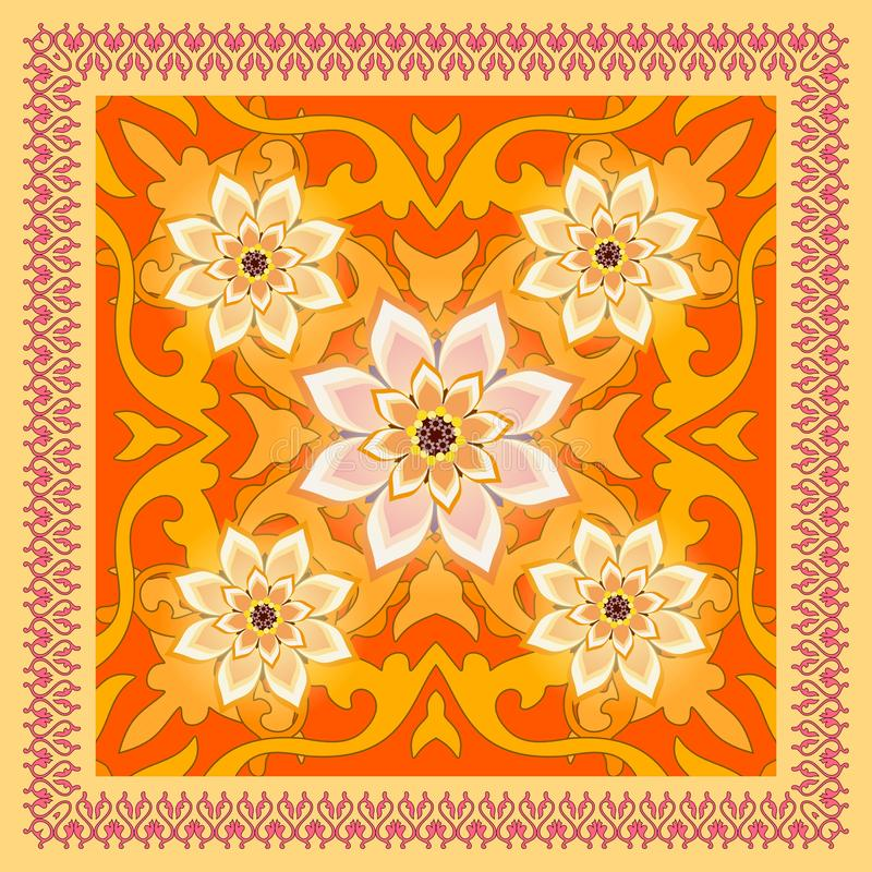Яркая орнаментальная шаль с рамкой шнурка и абстрактные цветки в этническом стиле Русский мотив иллюстрация штока
