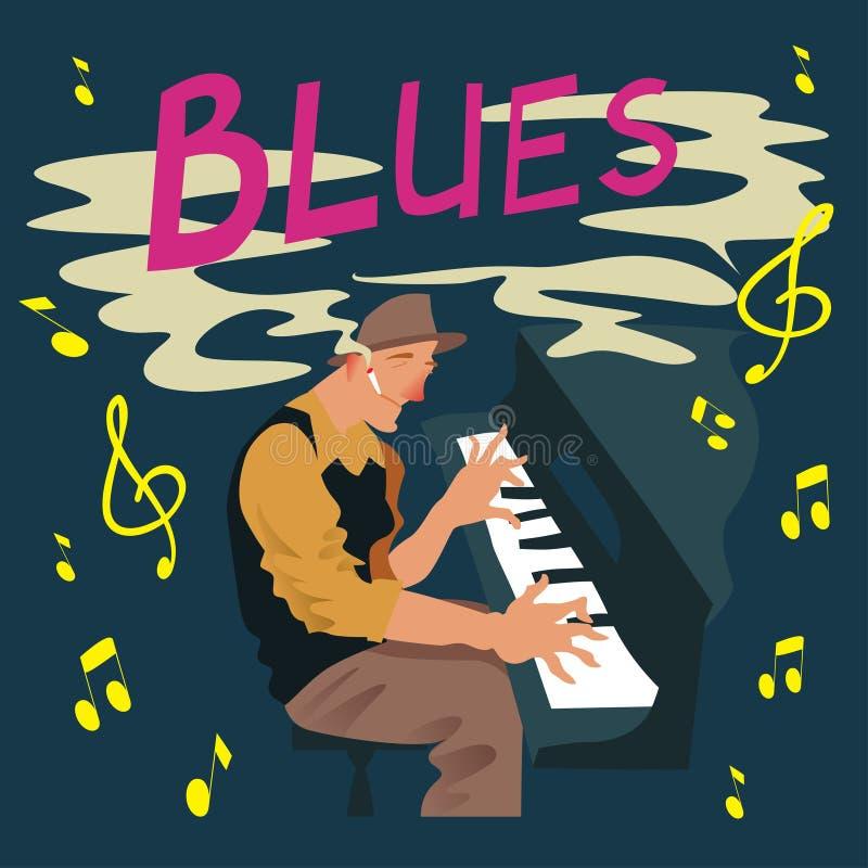 Яркая поздравительная открытка Плакат с музыкантом Игры человека на син рояля также вектор иллюстрации притяжки corel бесплатная иллюстрация