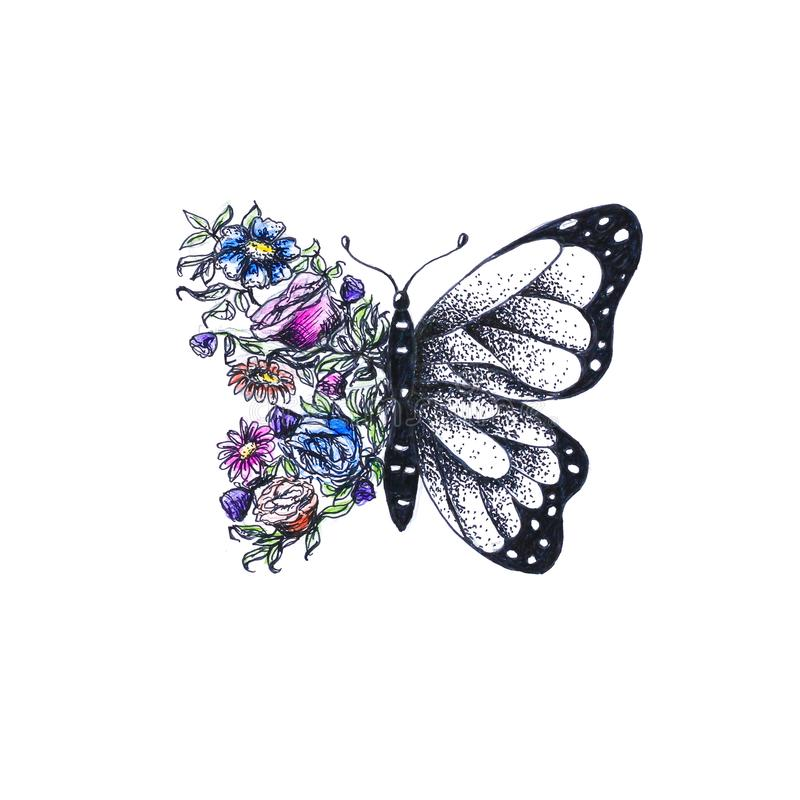 Яркая покрашенная бабочка Нарисованный вручную Чертеж акварели clos иллюстрация штока