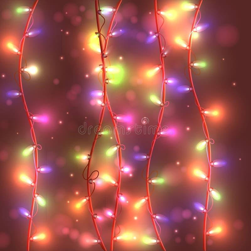 Яркая праздничная предпосылка с гирляндами, гореть светов, бесплатная иллюстрация