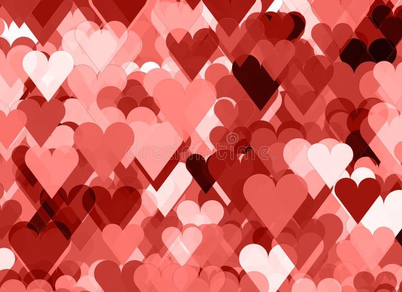 Яркая предпосылка много красных и розовых сердец стоковое изображение