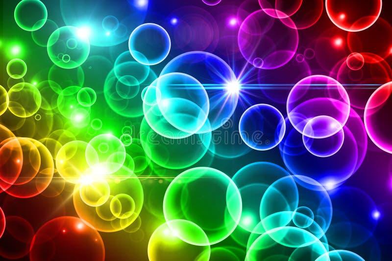 Яркая предпосылка bokeh радуги, красочные круги, световой эффект, иллюстрация штока
