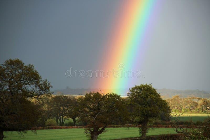 Яркая радуга над стороной страны Сассекс стоковое фото