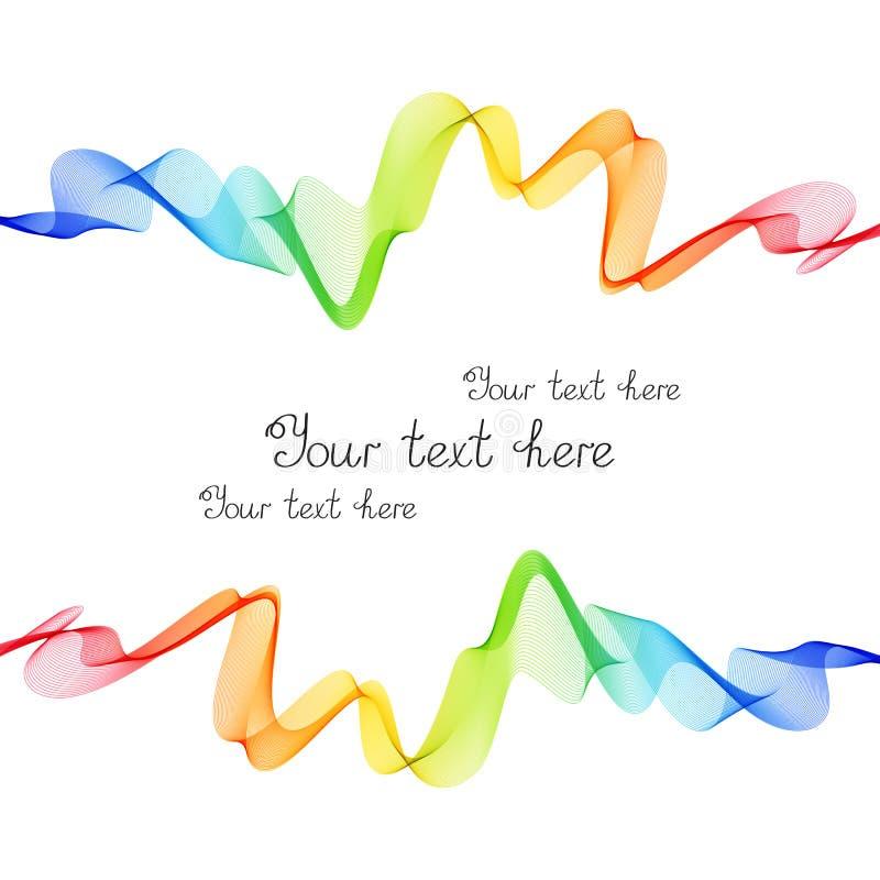 Яркая рамка радуги линий волны на белой предпосылке иллюстрация штока