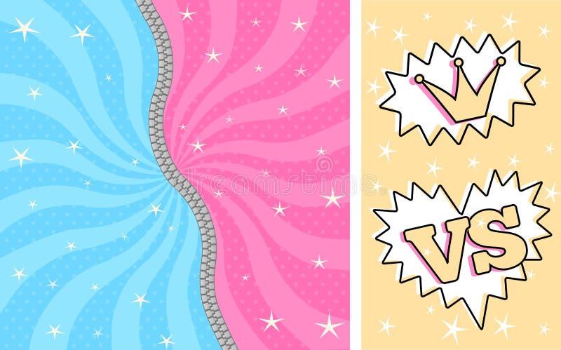 Яркая розовая синь striped волшебная предпосылка для тематической партии в сюрпризе куклы стиля LOL иллюстрация штока