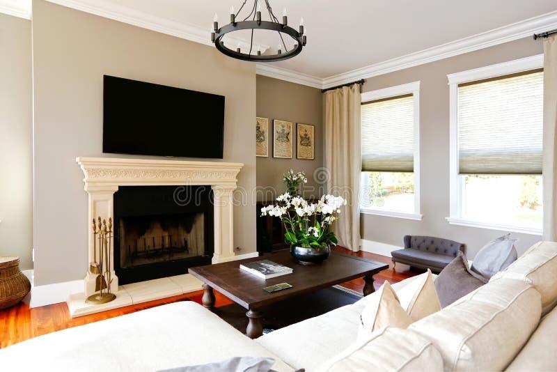 Яркая роскошная живущая комната с камином и ТВ стоковое фото rf