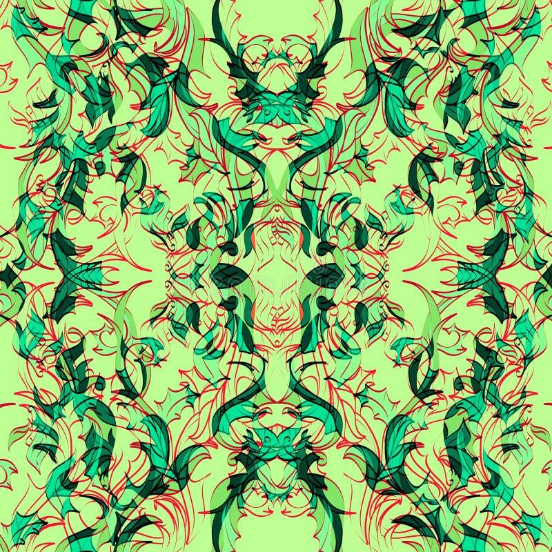 Яркая симметричная флористическая абстракция иллюстрация штока