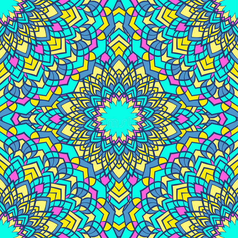 Яркая смешанная предпосылка ослепительного рук-чертежа орнаментальная флористическая абстрактная безшовная с много деталей для ди иллюстрация вектора