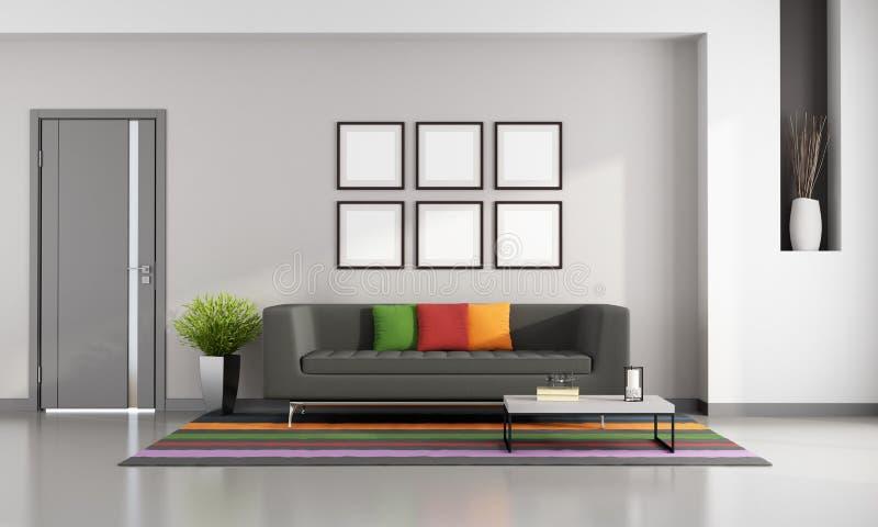 Яркая современная живущая комната иллюстрация вектора