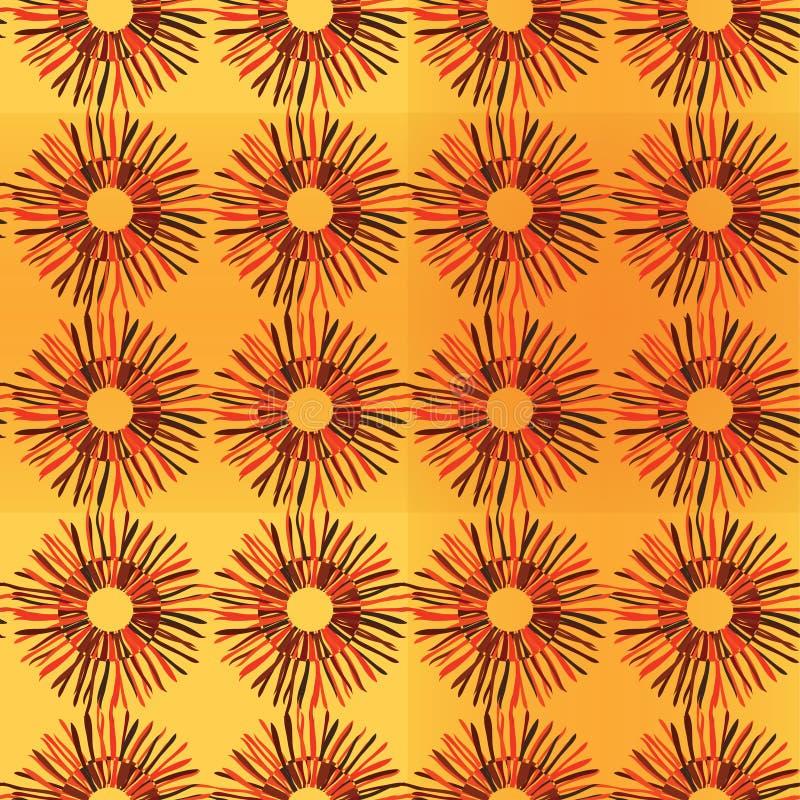 Яркая солнечная флористическая безшовная картина с солнцецветами, оранжевый план на желтой предпосылке, эскизе, стиле doodle вект бесплатная иллюстрация
