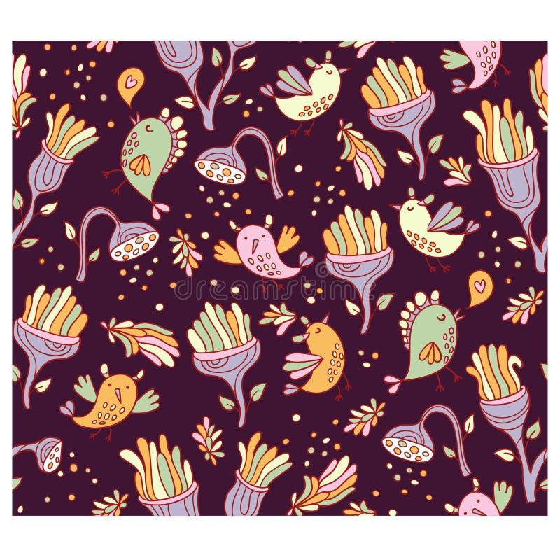 Яркая фантастическая предпосылка с цветками и птицами космоса иллюстрация штока