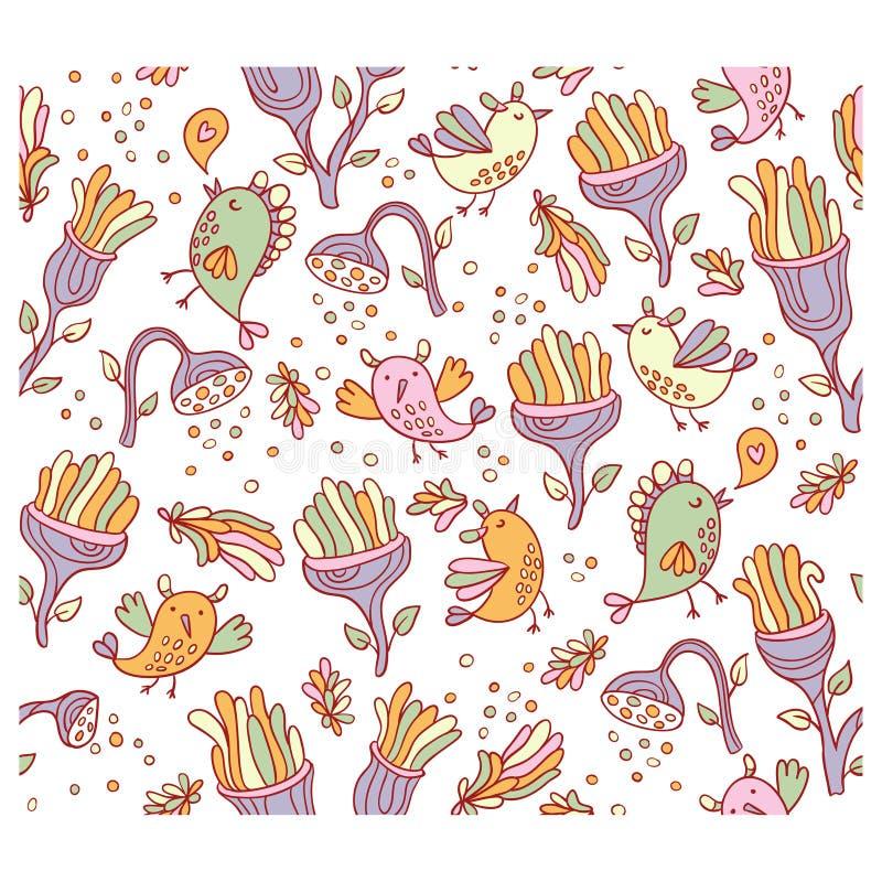 Яркая фантастическая предпосылка с цветками и птицами космоса бесплатная иллюстрация